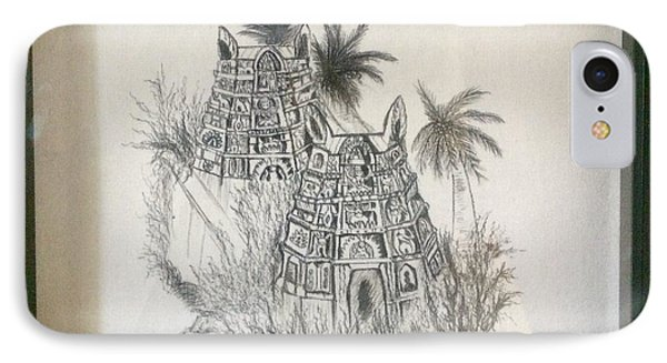 IPhone Case featuring the painting Temple In Calligraphy Ink by Brindha Naveen