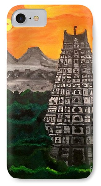 IPhone Case featuring the painting Temple Near The Hills by Brindha Naveen