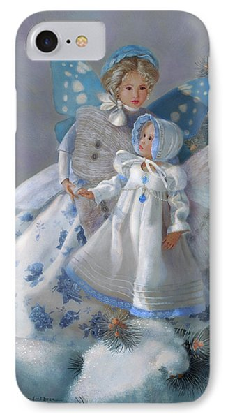 IPhone Case featuring the painting Tenderness Snow Fairies by Nancy Lee Moran