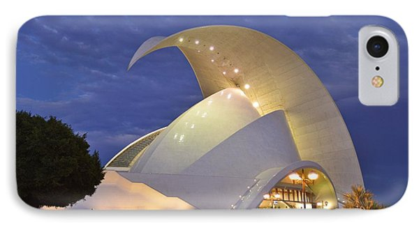 IPhone Case featuring the photograph Tenerife Auditorium At Dusk by Marek Stepan