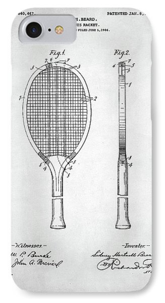 Tennis Racket Patent 1907 IPhone 7 Case