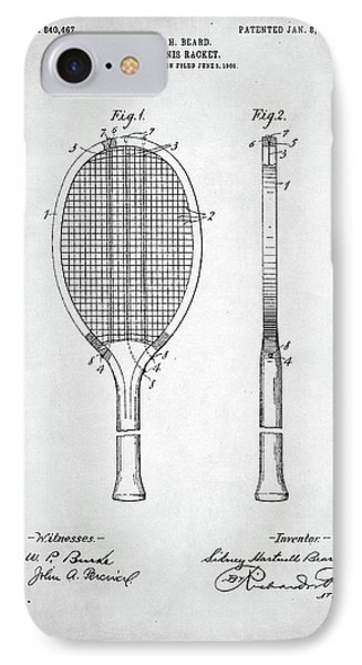 Tennis Racket Patent 1907 IPhone Case by Taylan Apukovska