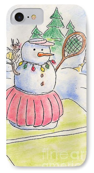 IPhone Case featuring the drawing Tennis Snowlady by Vonda Lawson-Rosa