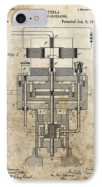 Tesla Generator Patent IPhone Case by Dan Sproul