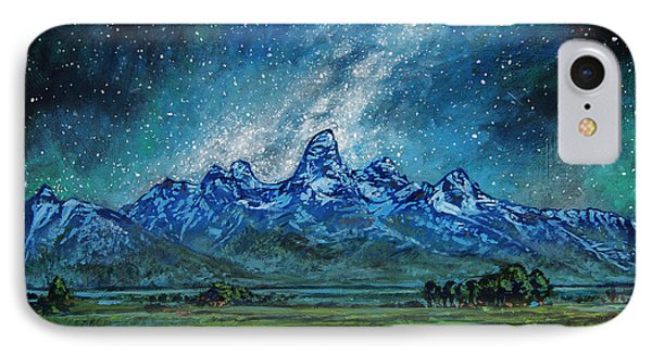 IPhone Case featuring the painting Teton Milky Way by Aaron Spong