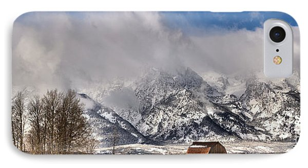 IPhone Case featuring the photograph Teton Mountains Over Mormon Row by Adam Jewell