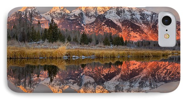 Teton Mountains Sunrise Rainbow IPhone Case by Adam Jewell