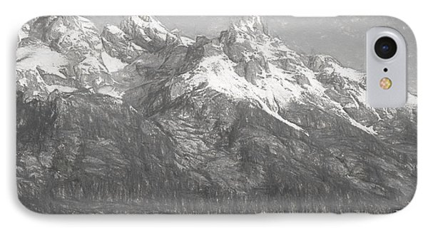 Teton Range Charcoal Sketch IPhone Case by Dan Sproul