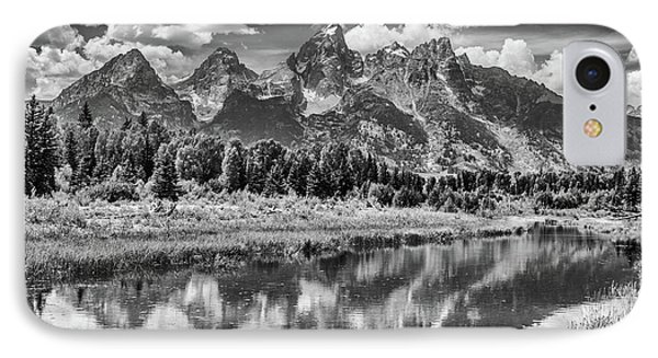 Tetons In Black And White IPhone Case by Mary Hone