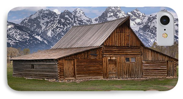 Tetons Towering Over The Moulton Barn IPhone Case by Adam Jewell