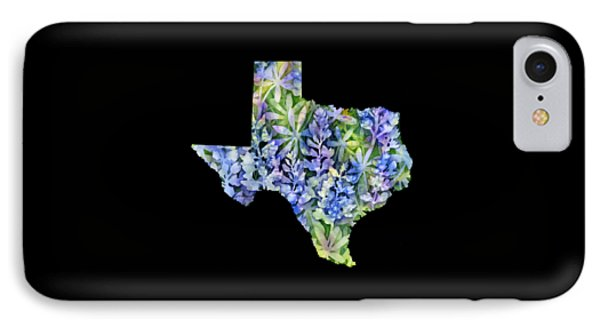 Texas Blue Texas Map On White IPhone Case by Hailey E Herrera