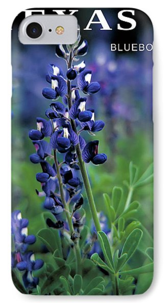 IPhone Case featuring the mixed media Texas Bluebonnet State Flower by Daniel Hagerman