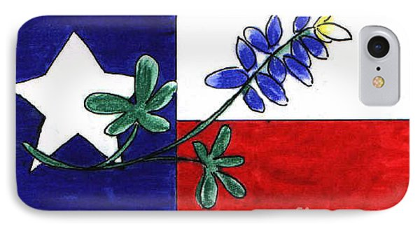 IPhone Case featuring the drawing Texas Bluebonnet by Vonda Lawson-Rosa