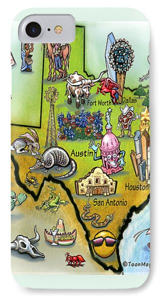 IPhone Case featuring the digital art Texas Cartoon Map by Kevin Middleton