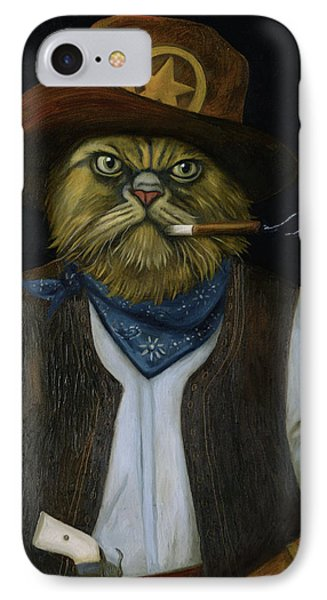 IPhone Case featuring the painting Texas Cat With An Attitude by Leah Saulnier The Painting Maniac