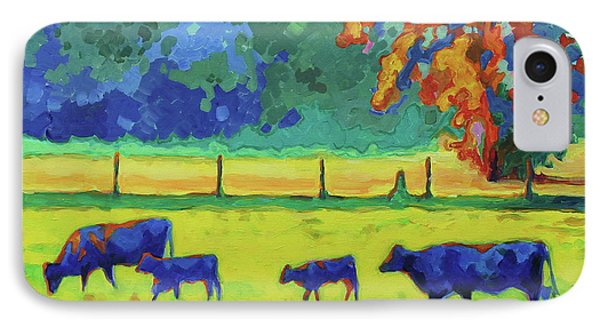 Texas Cows And Calves At Sunset Painting T Bertram Poole IPhone Case by Thomas Bertram POOLE