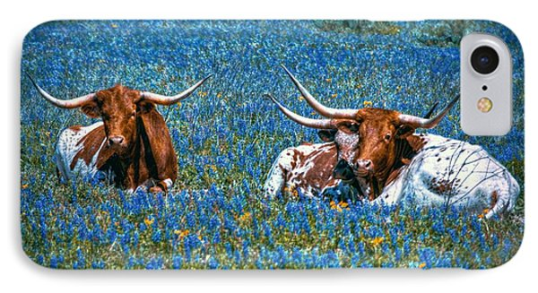 Texas In Blue IPhone Case by Linda Unger