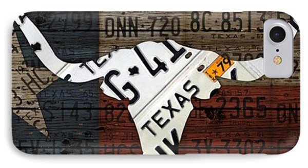 #texas #longhorn #recycled #vintage IPhone Case by Design Turnpike