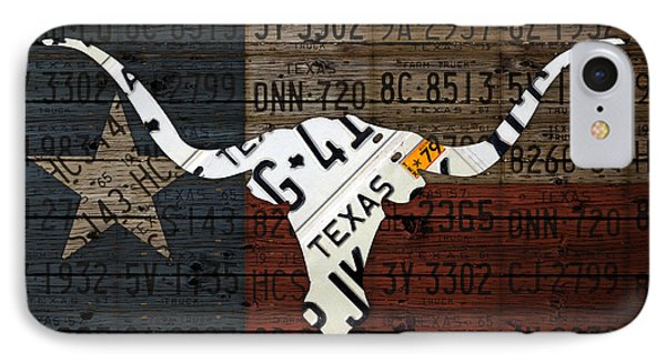 Texas Longhorn Recycled Vintage License Plate Art On Lone Star State Flag Wood Background IPhone Case by Design Turnpike