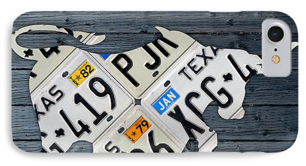 Texas Longhorn Vintage License Plate Art On Blue Gray Barn Wood IPhone Case by Design Turnpike
