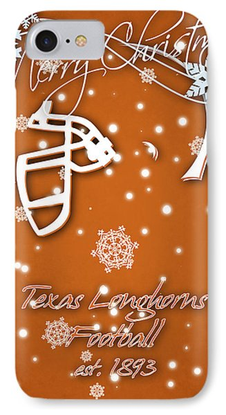 Texas Longhorns Christmas Card IPhone Case by Joe Hamilton