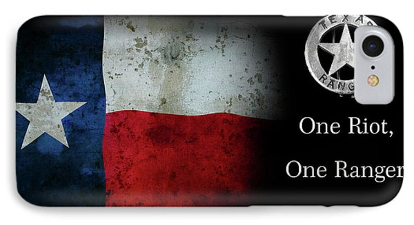 Texas Rangers Motto - One Riot, One Ranger IPhone Case by Daniel Hagerman