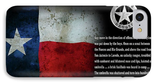 Texas Rangers Quote On Effeminacy And Dandyism  1890 IPhone Case by Daniel Hagerman