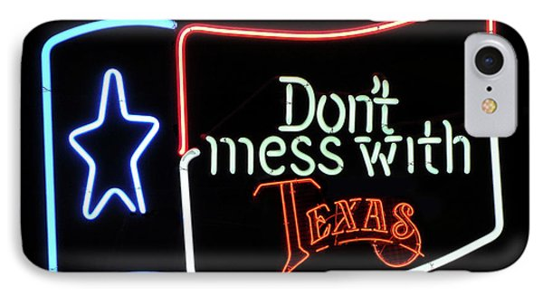 IPhone Case featuring the photograph Texas Flag Saloon Neon by Daniel Hagerman