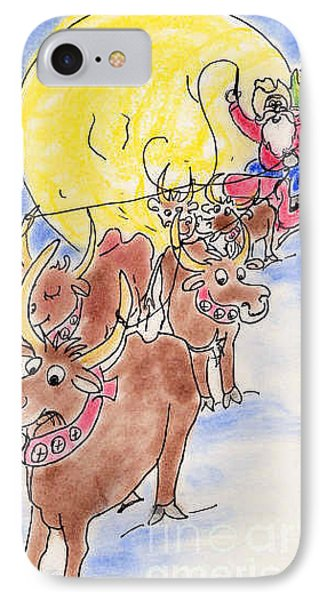 IPhone Case featuring the pastel Texas Santa by Vonda Lawson-Rosa