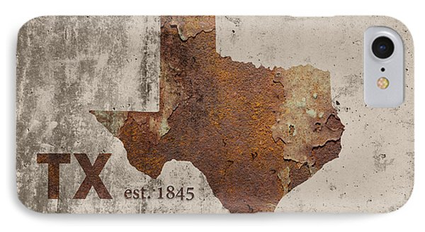 Texas State Map Industrial Rusted Metal On Cement Wall With Founding Date Series 004 IPhone Case