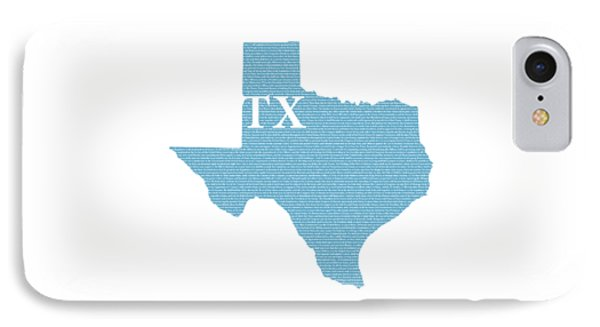 Texas State Map With Text Of Constitution IPhone Case