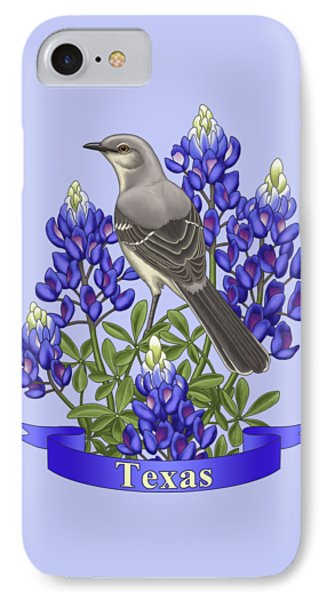 Texas State Mockingbird And Bluebonnet Flower IPhone 7 Case by Crista Forest