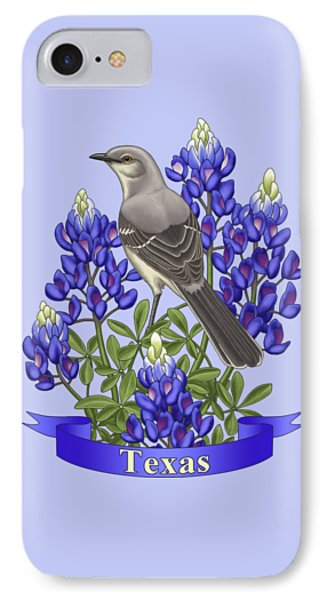 Mockingbird iPhone 7 Case - Texas State Mockingbird And Bluebonnet Flower by Crista Forest