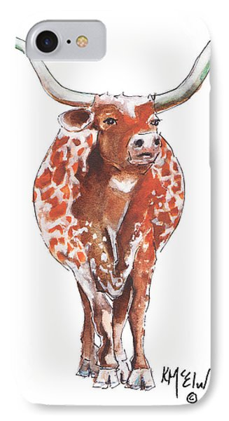 Texas Longhorn Taking The Lead Watercolor Painting By Kmcelwaine IPhone Case by Kathleen McElwaine