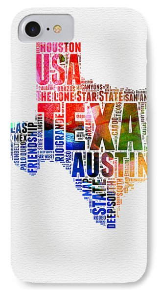 Texas Watercolor Word Cloud  IPhone Case by Naxart Studio