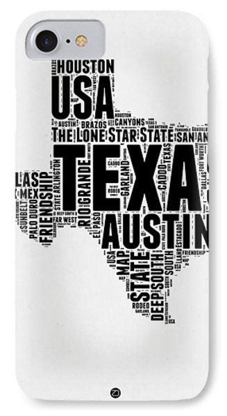 Austin iPhone 7 Case - Texas Word Cloud 2 by Naxart Studio