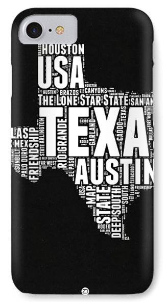 Texas Word Cloud Black And White Map IPhone Case by Naxart Studio