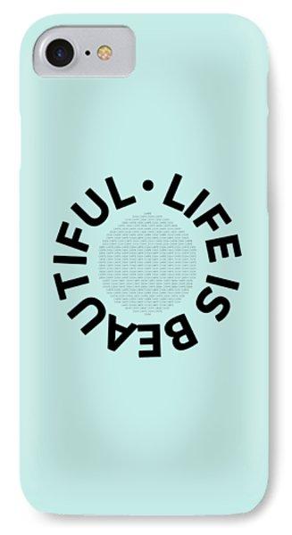 Text Art Life Is Beautiful - Carpe Diem IPhone Case by Melanie Viola