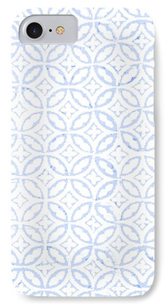 Cross iPhone 7 Case - Textured Blue Diamond And Oval Pattern by Gillham Studios