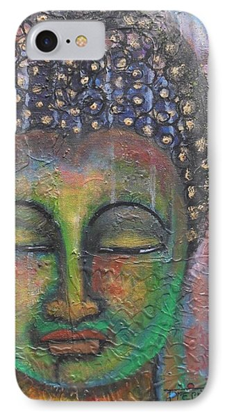 IPhone Case featuring the painting Textured Green Buddha by Prerna Poojara