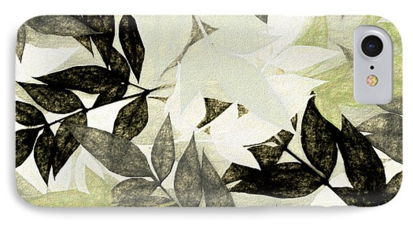 IPhone Case featuring the digital art Textured Leaves Abstract By Kaye Menner by Kaye Menner
