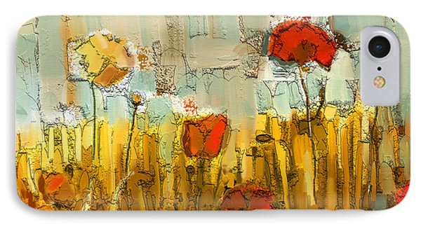 IPhone Case featuring the mixed media Textured Poppies by Carrie Joy Byrnes