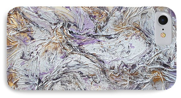 Textured Purple And Gold IPhone Case by Angela Stout