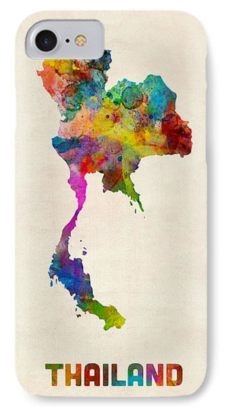 Thailand Watercolor Map IPhone Case