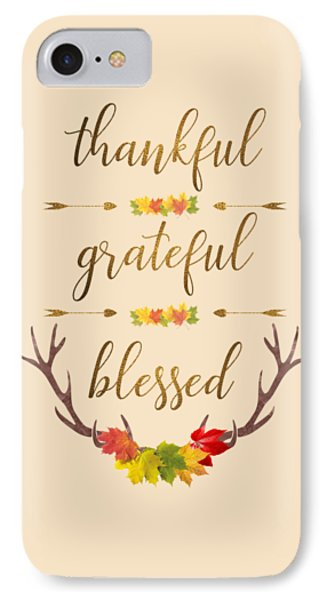 IPhone Case featuring the digital art Thankful Grateful Blessed Fall Leaves Antlers by Georgeta Blanaru