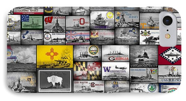 The 50 States And Their Battleships IPhone Case by JC Findley