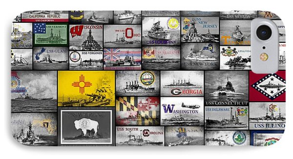 IPhone Case featuring the digital art The 50 States And Their Battleships by JC Findley