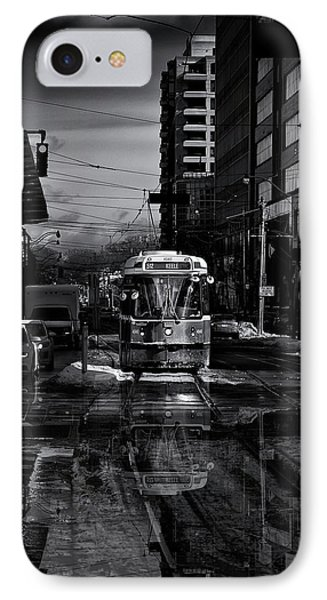 IPhone Case featuring the photograph The 512 St. Clair Streetcar Toronto Canada Reflection by Brian Carson