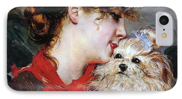 The Actress Rejane And Her Dog IPhone Case by Giovanni Boldini