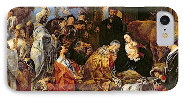 The Adoration Of The Magi IPhone Case by Jacob Jordaens